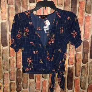 NWT E Hanger M Anthro Floral Wrap Navy Top Puff